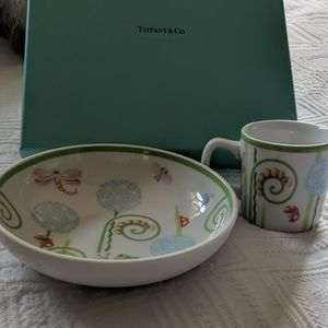 Tiffany & Co Fiddleheads Baby Bowl and Cup